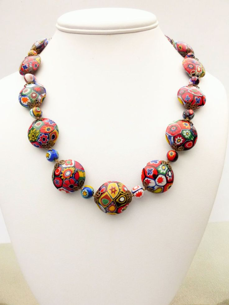 Vintage Murano Millefiori Venetian Glass Discs Beads Hand Knotted Necklace