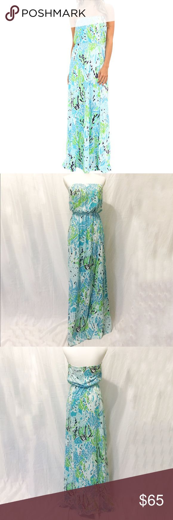 Lilly Pulitzer | Marlisa Strapless Maxi Dress | S Lilly Pulitzer | Marlisa Strapless Maxi Dress   • Size: Small • Let's Cha Cha Print in Spa Blue • Excellent Condition  • True to Size • No Wear or Damage  • Pet/Smoke Free Home • 100% Pima Cotton • Elastic top & waist • See Photos for Measurements  Let me know if you have any questions and happy shopping! Lilly Pulitzer Dresses Maxi