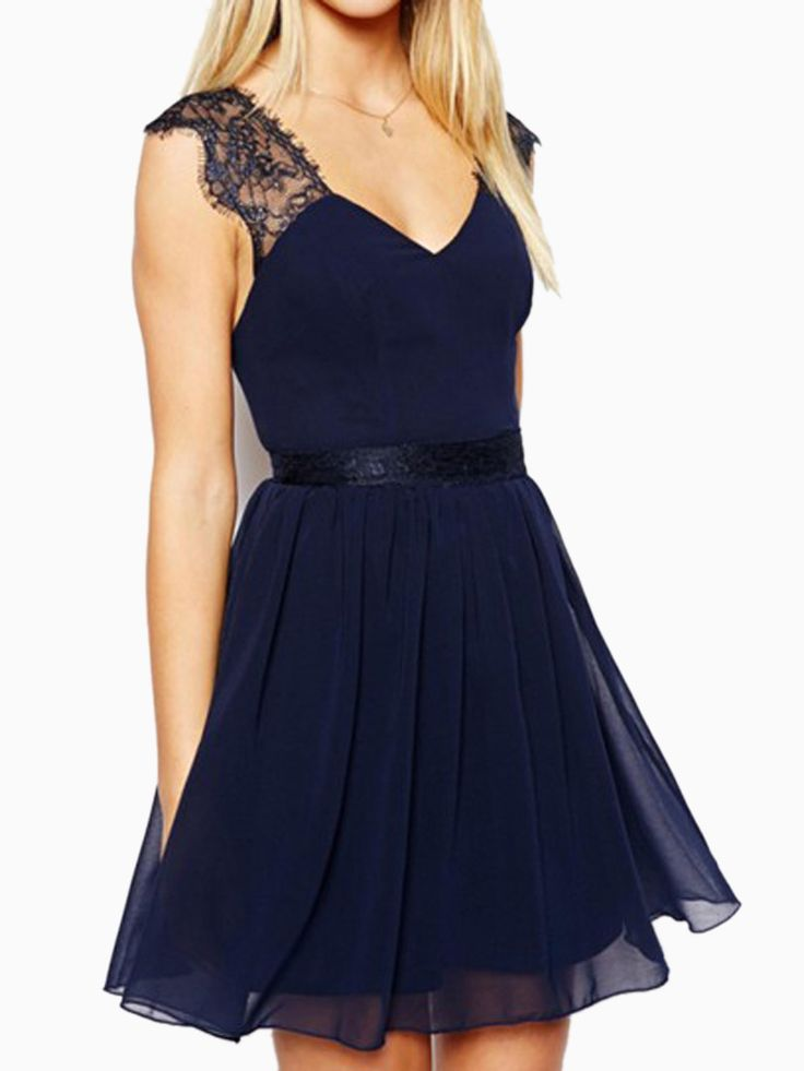 Navy Blue Backless Skater Dress with Lace Shoulder