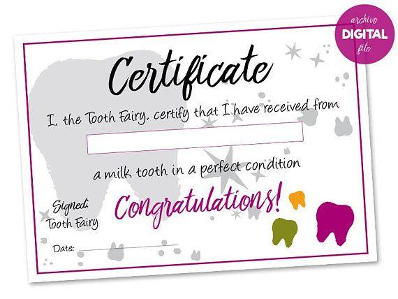 Tooth Fairy Certificate. Printable, Inglés. Hada de los Dientes, Certificado. Imprimible, Dientes de leche.