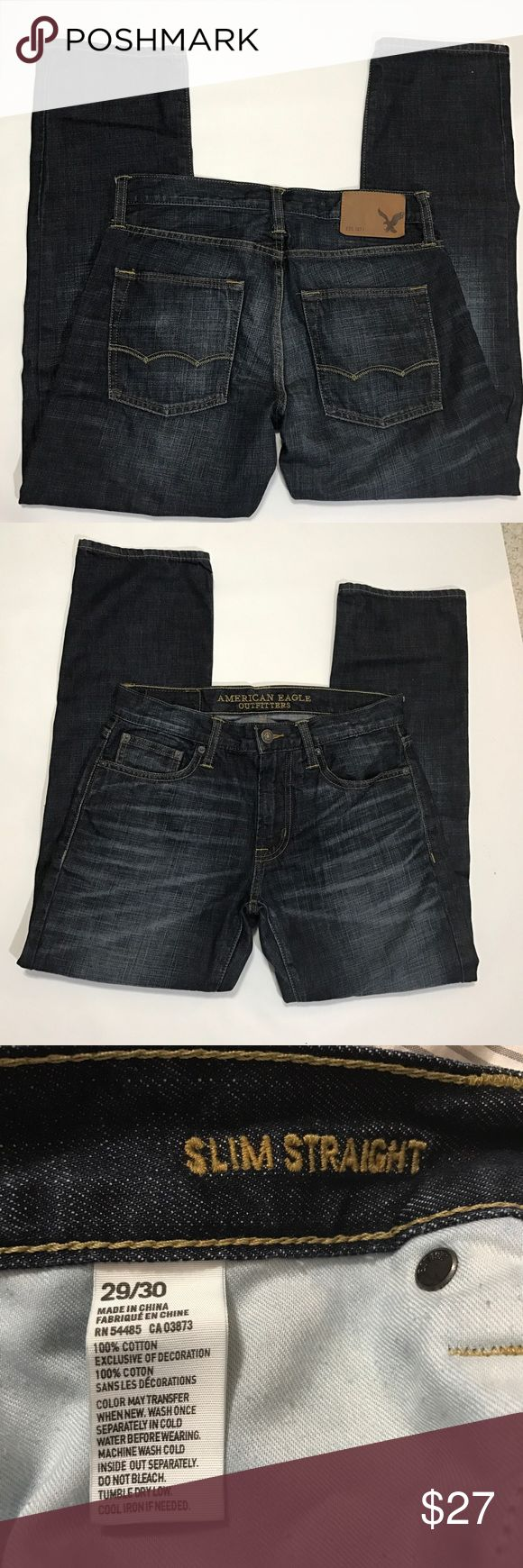 """American Eagle ?? men's slim straight jeans American Eagle Outfitters Slim straight men's jeans. Tag size 29/30. Waist measures 15.5"""" laid flat, inseam measures 29.75"""". 100% Cotton. Faded look, dark blue jeans. American Eagle Outfitters Jeans Slim Straight"""