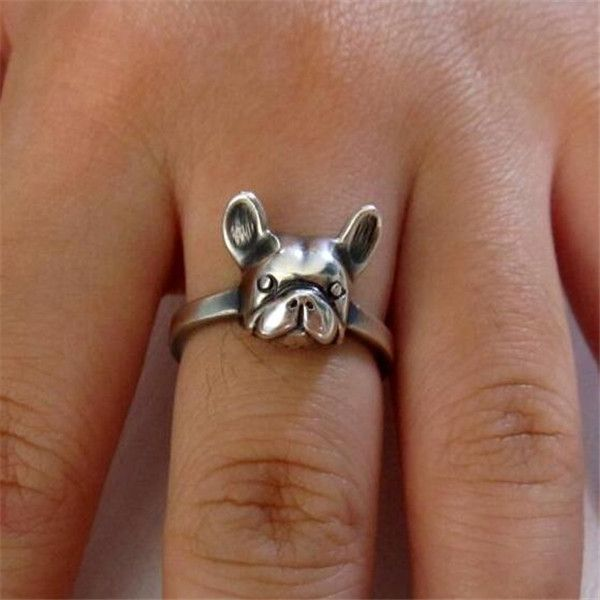 Handmade Vintage French Bulldog Ring in Sterling Silver
