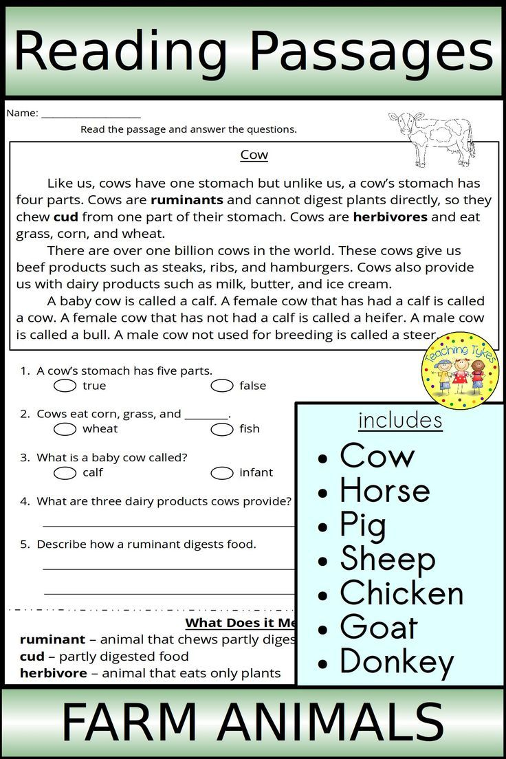 - Farm Animal Reading Passages (With Images) Reading Passages