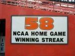 Miami Hurricanes 58 NCAA Home Game Winning Streak - the longest ever.