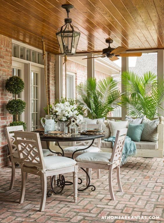 Beautiful Brick Pavers, Wood Ceiling, Lantern Light Fixture, And Awesome  Swing!