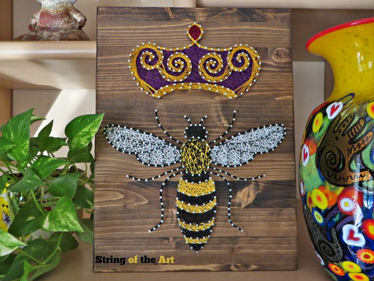 String art kit queen bee string art bee diy kit for Diy nail and string art