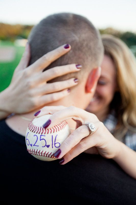 Baseball themed engagement photos Caitlyn and Jason  Photo By Nicole Cassano Photography #baseball #love #savethedate