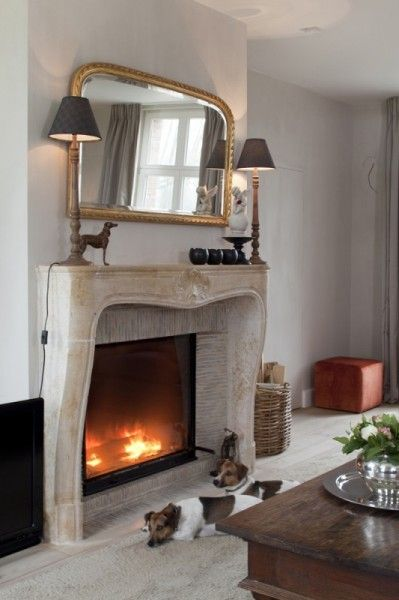 Superb stone fireplace and mantel...