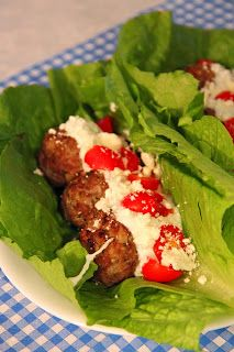 Jo and Sue: Greek Gyro Lettuce Wraps. Only 200 calories, 8 carbs. So crazy good!