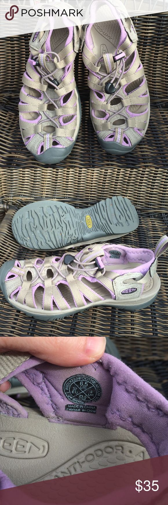Keen sandals for water and hiking tan & lilac 6.5 Like new cond. Keen water and hiking sandals in tan khaki with lilac purple accent. Super sandal with anatomic comfy anti odor footbed, adjuster cincher cord, and ready for adventure. Size 6.5....fits 6-6.5 best in my opinion. Please know your Keen sandal size as there are no returns on Posh. Thank you Keen Shoes Sandals