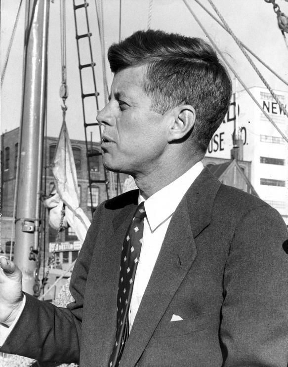 07 October 1958 Senator John F. Kennedy campaigns for re-election in New Bedford, Massachusetts. Pier 3, New Bedford, Massachusetts.
