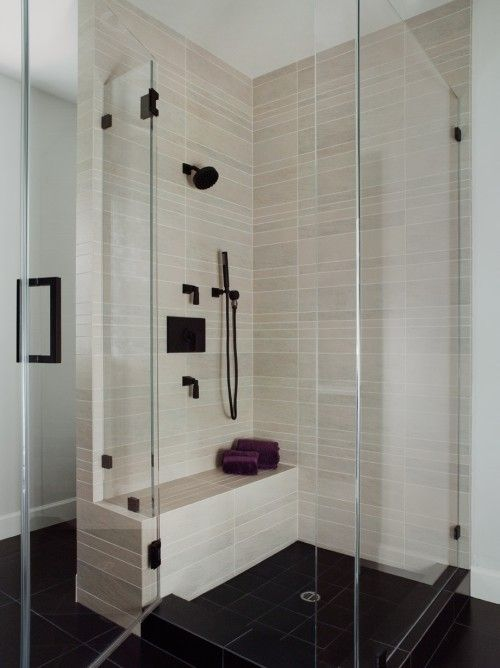 shower, bench and tile contrast