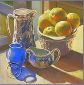 Still life with Warm Light. Pastel Painting. By Amanda McLean