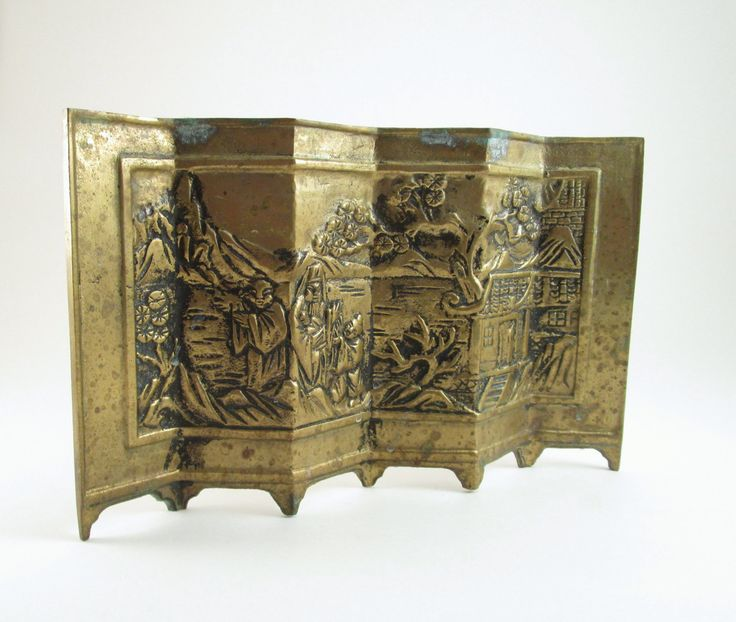 Vintage Asian Brass Room Divider, Vintage Asian Tabletop Decor, Brass Room Screen, Beautifully Embossed Asian Art, Desk Decor, Shelf Decor by TREASUREandSUCH on Etsy