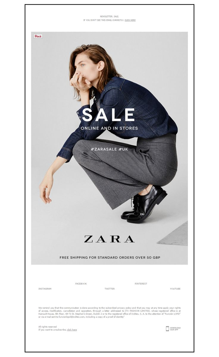 Zara Sale Online and in store Email