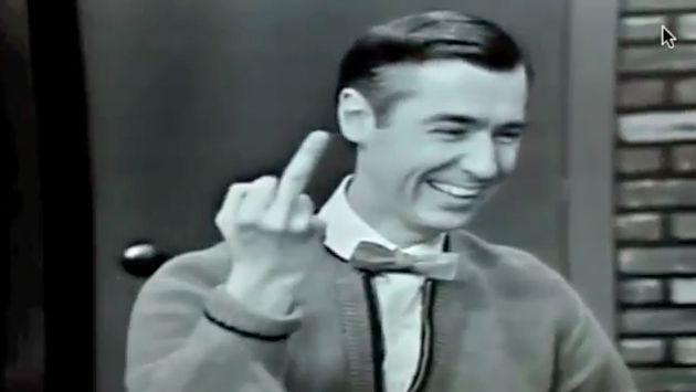 Mr. Rogers Sticks Up Middle Finger!
