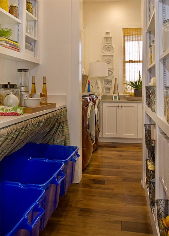 Smart way to hide recycling bins. Laundry Room and Recycling Center In