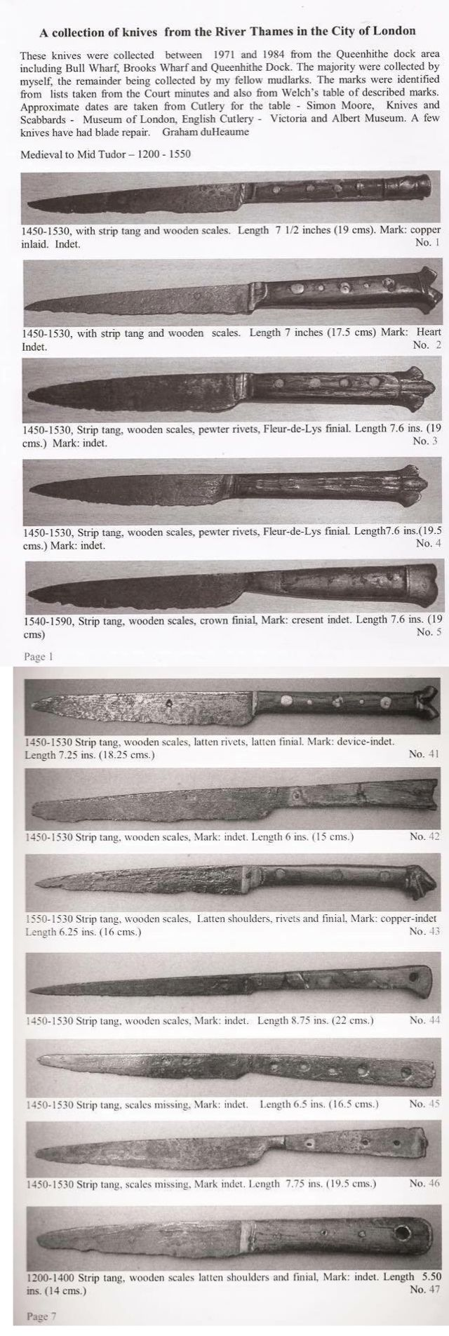 A collection of knives from River Thames in the City of London, England [640x1904]
