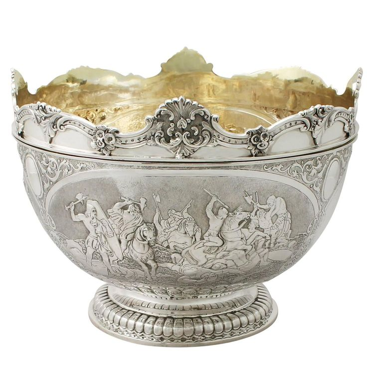 Sterling Silver Monteith Bowl - Antique Victorian | From a unique collection of antique and modern serving bowls at https://www.1stdibs.com/furniture/dining-entertaining/bowls/