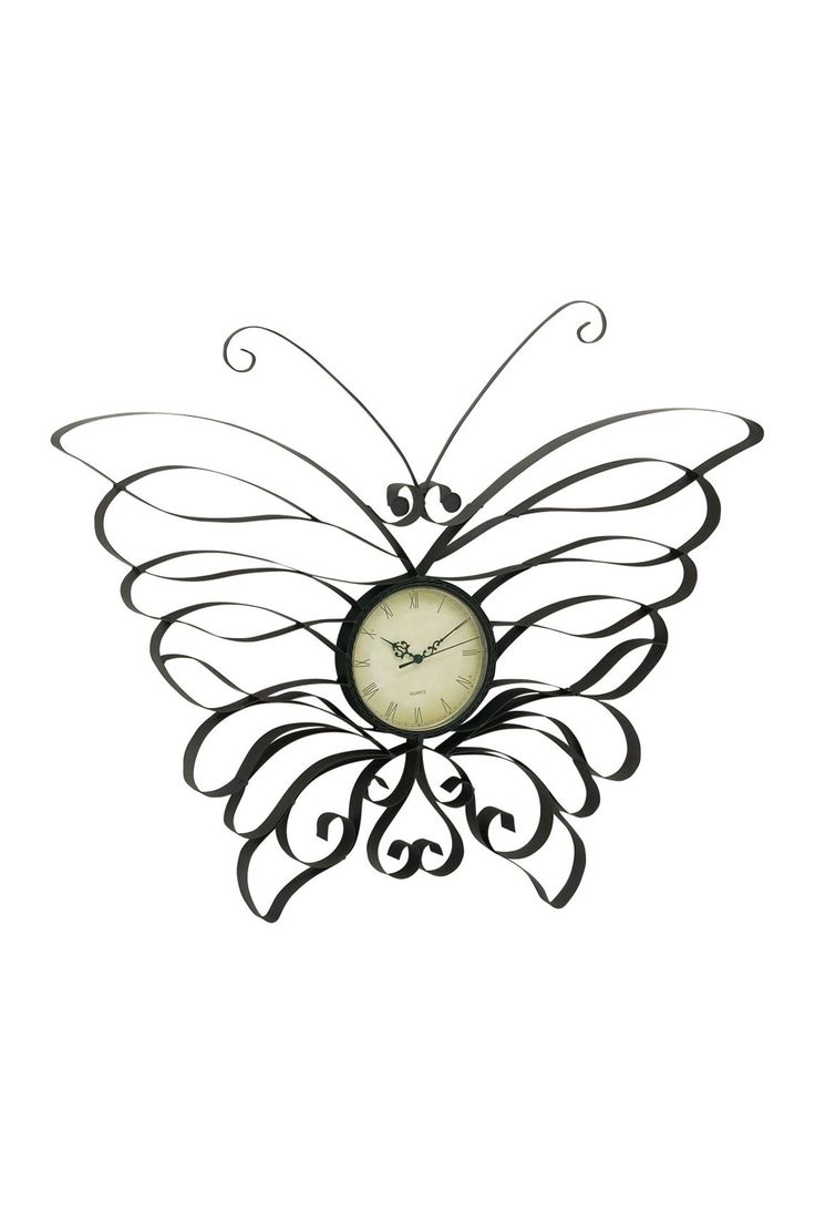 """Butterfly Outdoor Wall Clock Mirroring the whimsy of your own garden, this decor gem is surely a must-have for your patio or porch. - Tin and glass construction - 31"""" W x 2"""" D x 27"""" H - Imported  lanai, porch, patio, balcony, back yard, backyard, garden, designer, eclectic butterflies iron black"""