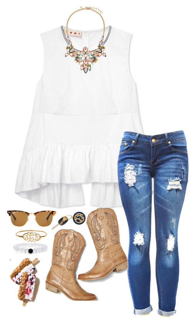 """Rodeo time"" by sassysouthernprep99 ❤ liked on Polyvore featuring Marni, American Eagle Outfitters, Ray-Ban, Hartford and J.Crew"