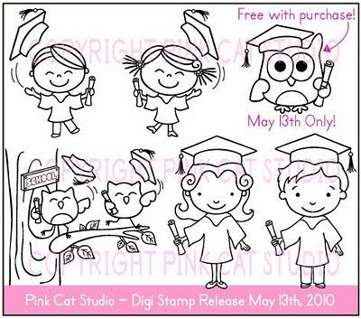 Pink Cat Studio: New Graduation Themed Digi Stamps