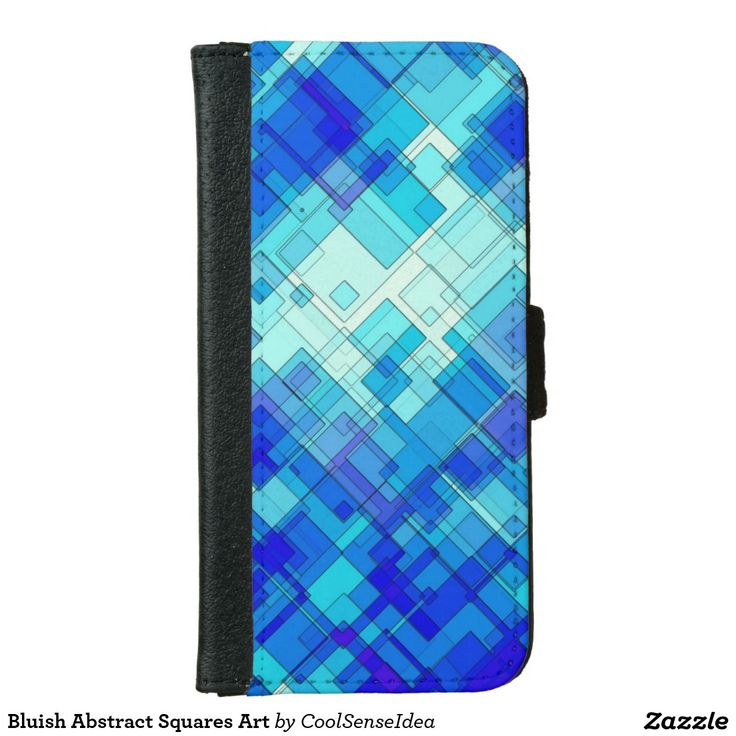 Bluish Abstract Squares Art Wallet Phone Case For iPhone 6/6s