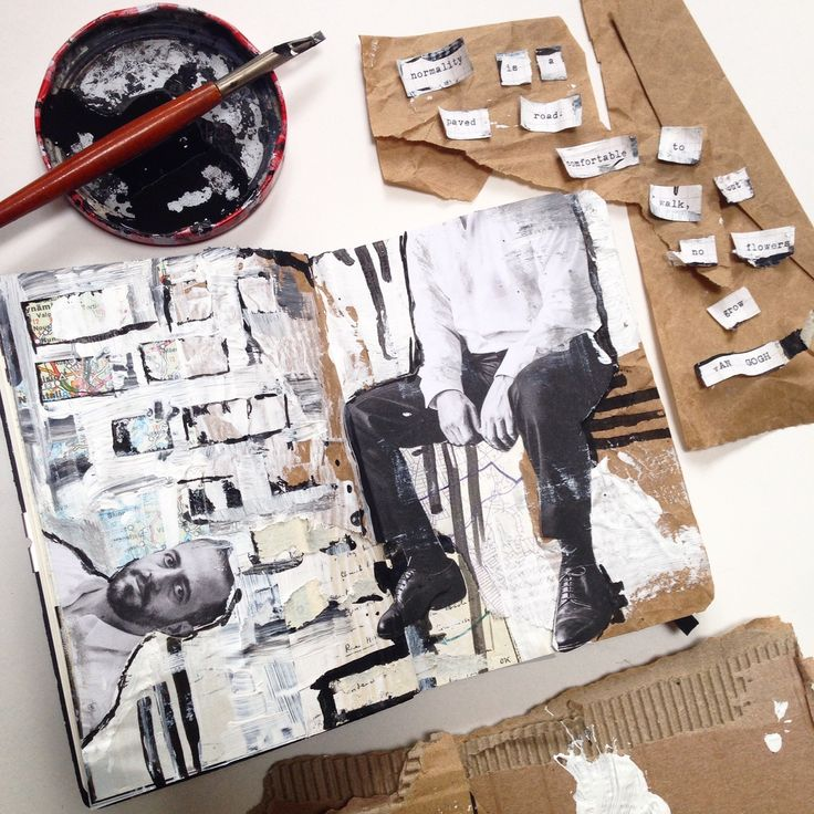 Art Sketchbook - mixed media collage; painting; artist journal; creative art portfolio // Cait Mceniff