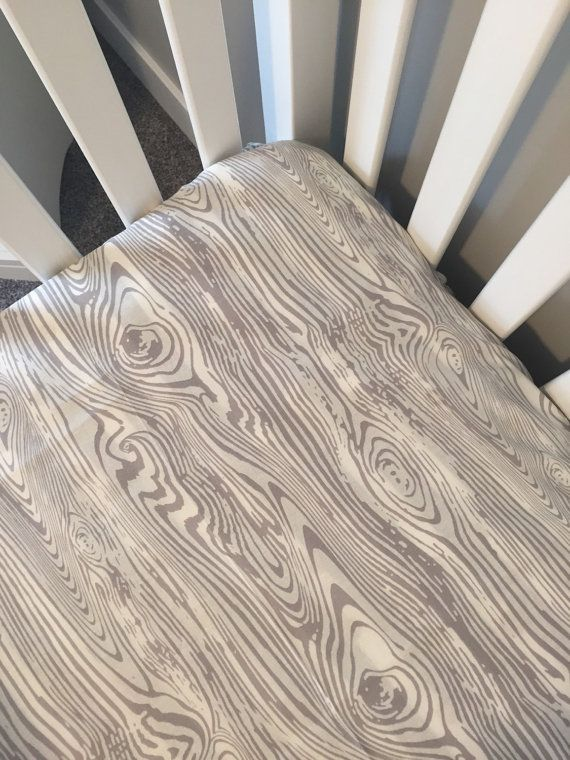 Woodgrain fitted crib sheet  Gray and white by GoodnightDoll