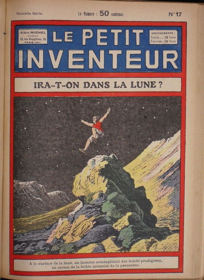 jumping walking on the moon, lunar exploration, weird science, 1930s sci-fi comics