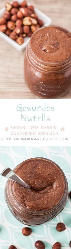 So einfach kann man Nutella selbermachen! Mit diesem Nutella-Rezept wird aus gerösteten Nüssen und Co eine gesunde vegane Schokocreme ohne Industriezucker, die je nach Zutat sogar low carb ist.   www.backenmachtgluecklich.de