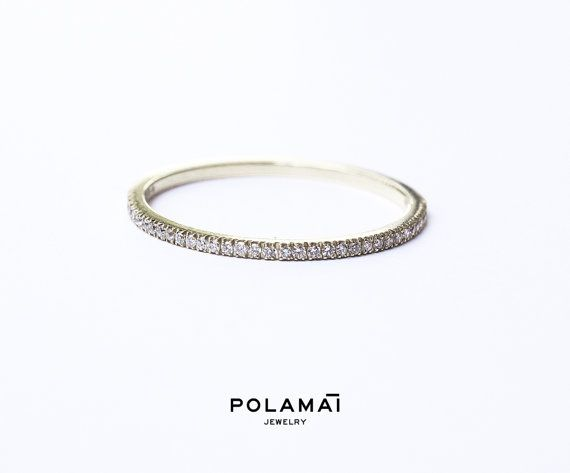 White Gold Diamond Eternity Ring 1.2mm 18k . Micro Pave by Polamai