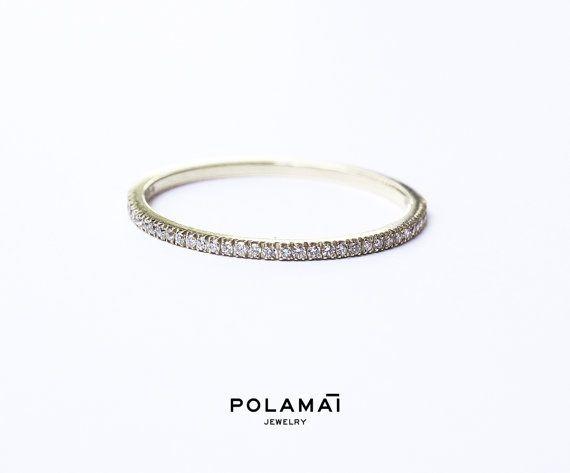 Weißgold Diamant Memoirering 12 mm 18k. Micro Pave von Polamai