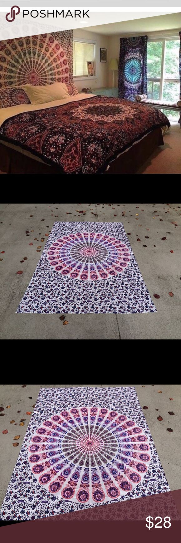 "Kids room decor boho home decor tapestry mandala Wall hanging Bed Couch Cover   This beautiful couch cover/bed spread is hand screen printed on cotton fabric. Can be used a bedspread, Bed Sheets, couch spread, wall hanging or celling decoration. It will look great indoor or outdoor for little picnic or tipi for sleepover parties and music festivals.  Size: 87"" X 54"" inch (Twin bed)  Material : 100% Cotton  Wash: Cold hand wash or Machine Delicates cycle & Air dry   #festival #kidsroom…"