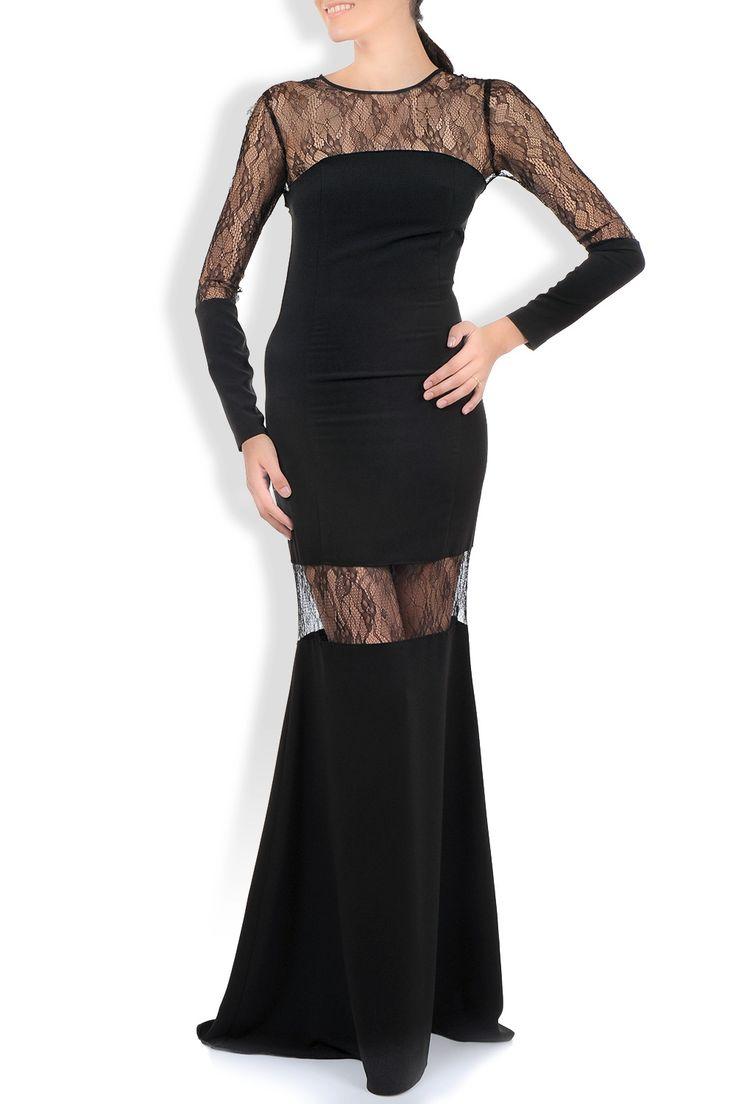 Rochie crepe negru cu insertii dantela