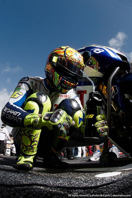 Valentino Rossi going through the pre-race ritual he does at every Moto Grand Prix.