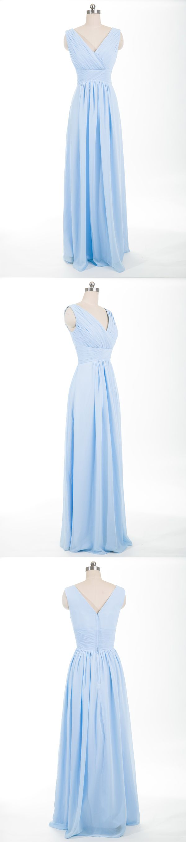 light sky blue long chiffon bridesmaid dress for spring summer wedding 2017