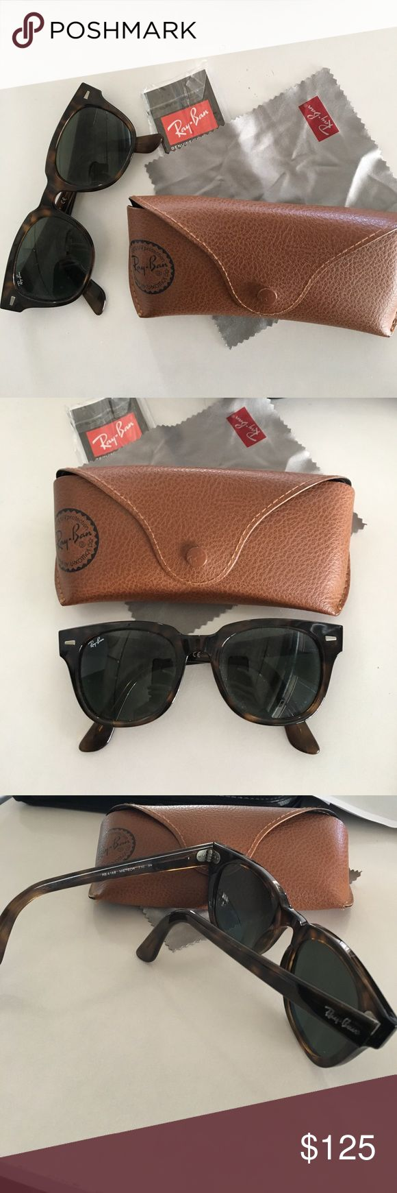 Ray Ban Meteor Sunglasses Gorgeous dark brown tortoise print Meteor style Ray Bans. Authentic, perfect condition, comes with case, original tags and cleaning cloth. Ray-Ban Accessories Sunglasses
