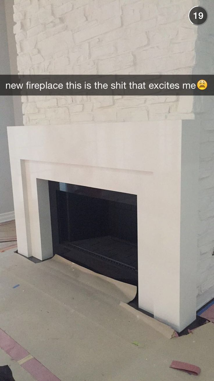 Kylie Jenner snapchat of her fireplace