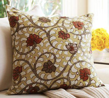 Sasha Madhubani Floral Embroidered Pillow Cover #potterybarn