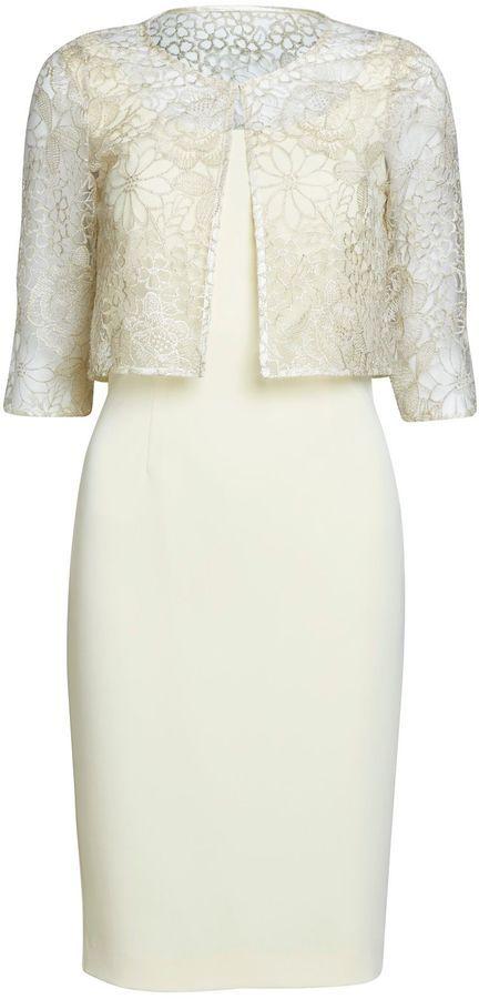 Vintage Bride ~ Mother of the Bride ~ Gina Bacconi Light Gold Floral Jacket and Crepe Dress ~ [vintagebridemag.com.au] ~ #vintagebride #vintagewedding #vintagebridemagazine #motherofthebride #motherofthegroom