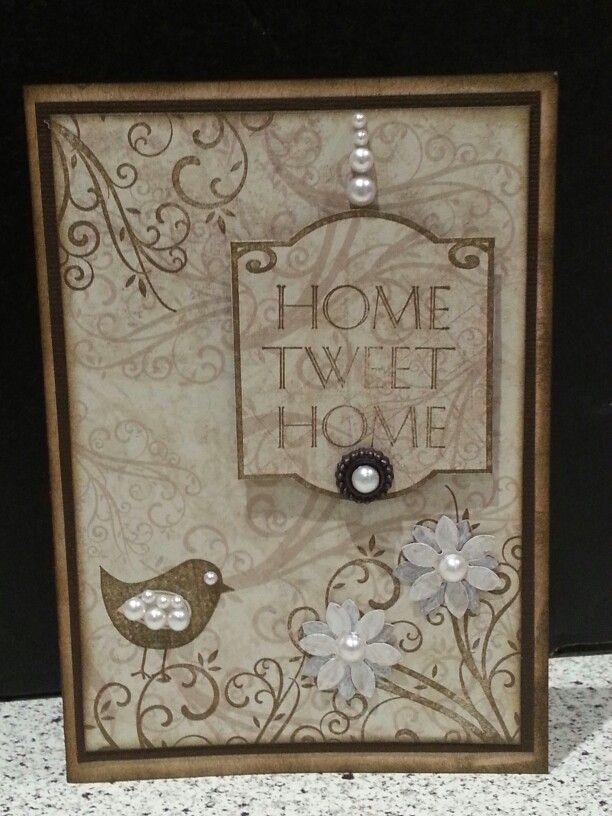 Housewarming card. Made as part of a four card set in a Kaszazz workshop.