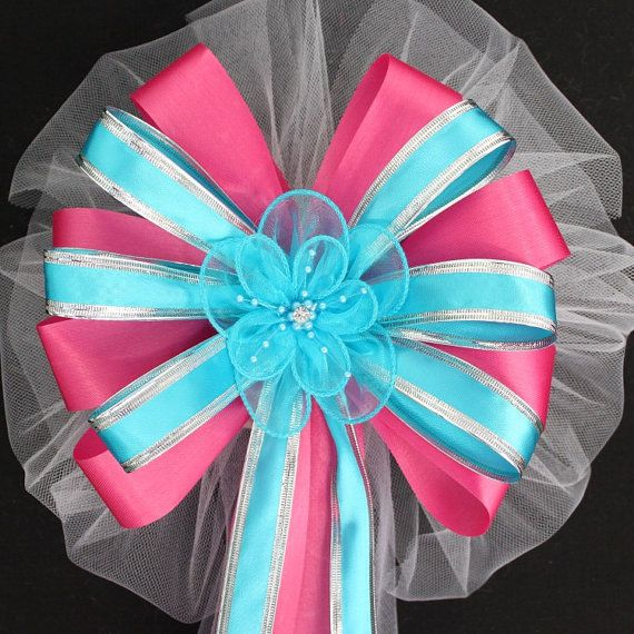 Green Instead Of Blue Turquoise Ribbon Flower And Hot Pink Wedding By Packageperfectbows 7 49