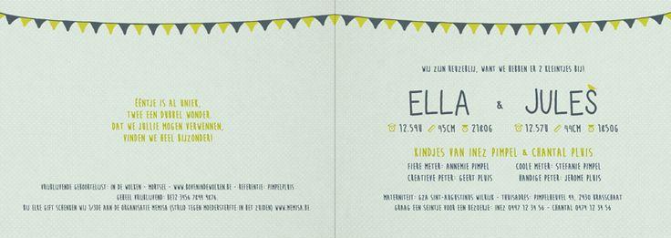 Geboortekaartje tweeling - Ella en Jules - binnenkant - Pimpelpluis - https://www.facebook.com/pages/Pimpelpluis/188675421305550?ref=hl (# vintage - retro - kleurrijk - tekst - ontwerp - tweeling - layout - origineel)