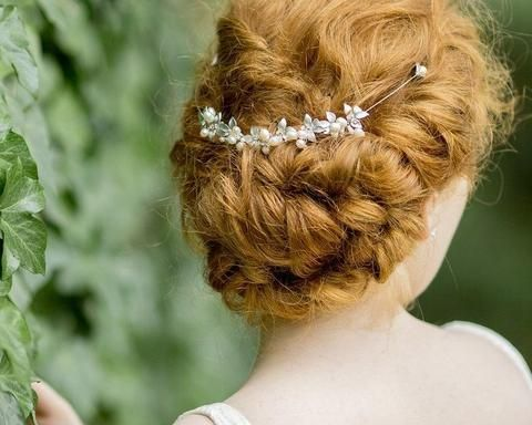 Silver Leaf and Freshwater Pearl Headpiece, Silver Vine