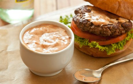 Special Sauce for Burgers & Sandwiches-This creamy, addictive condiment could taste so familiar it just might have you singing an old burger jingle. Great on grilled meats & veggies.  Ingredients: 1/2 cup Light Mayonnaise, 1/4 cup ketchup, 2 tbs finely grated onion, 2 tbs Organic Sweet Relish, 1 tbs Dijon mustard, 1/4 tsp finely ground black pepper- Per serving: 25 calories (15 from fat), 2g total fat, 0g saturated fat, 0mg cholesterol, 120mg sodium, 2g total carbohydrate (2g sugar)