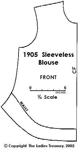 Delantero: señoras blusa sin mangas, 1905 - El Tesoro de las señoras del traje y de la moda