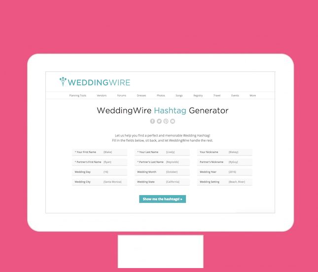 This Website Will Help You Generate the Most Creative Wedding Hashtag via Brit + Co