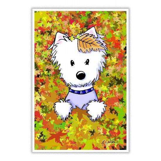 KiniArt Westie In Autumn Leaves LIMITED TIME ONLY. ORDER NOW if you like, Item Not Sold Anywhere Else. Amazing for you or gift for your family members and your friends. Thank you! #autumn #t-shirts #shirt