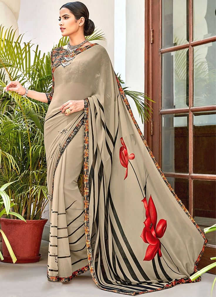 Online shopping store to buy latest designer sarees at amazing prices. Customization and free shipping worldwide. Buy this princely digital print work printed saree.